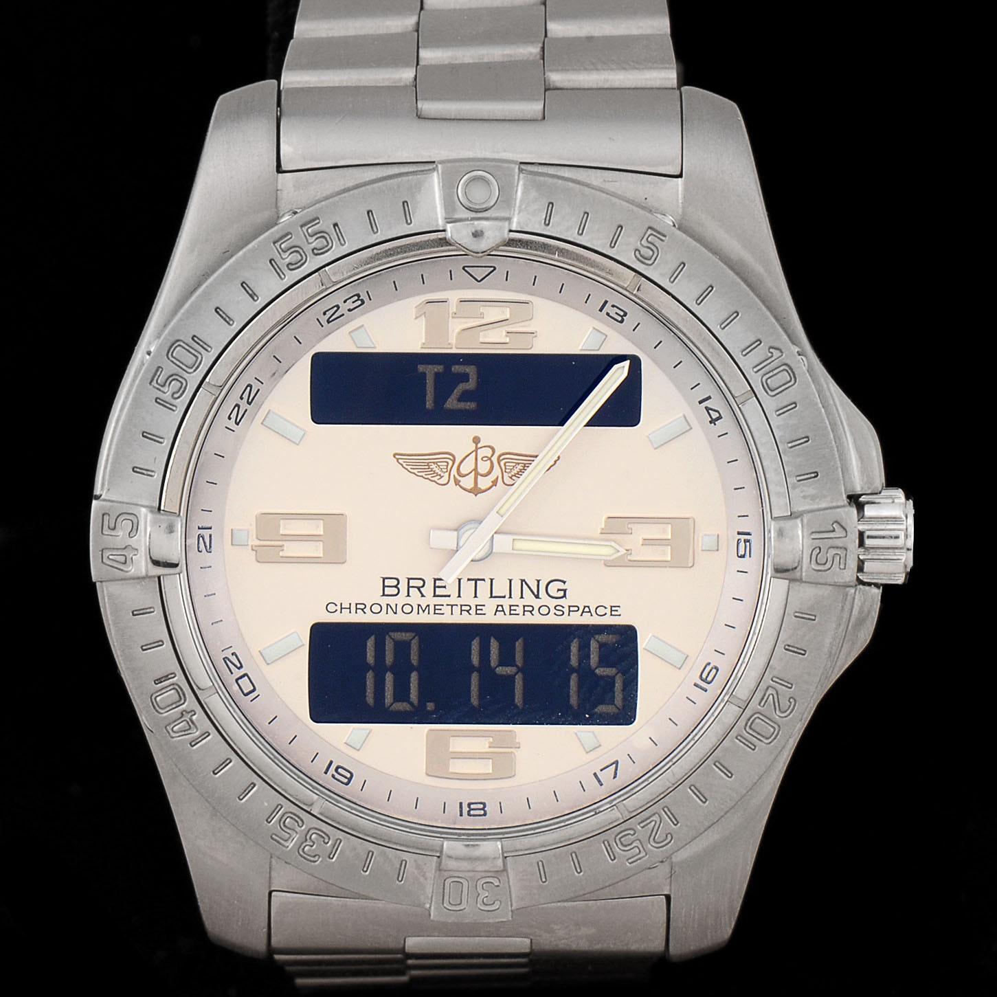 Men's Breitling Professional Aerospace Avantage Titanium Silver SuperQuartz Wristwatch