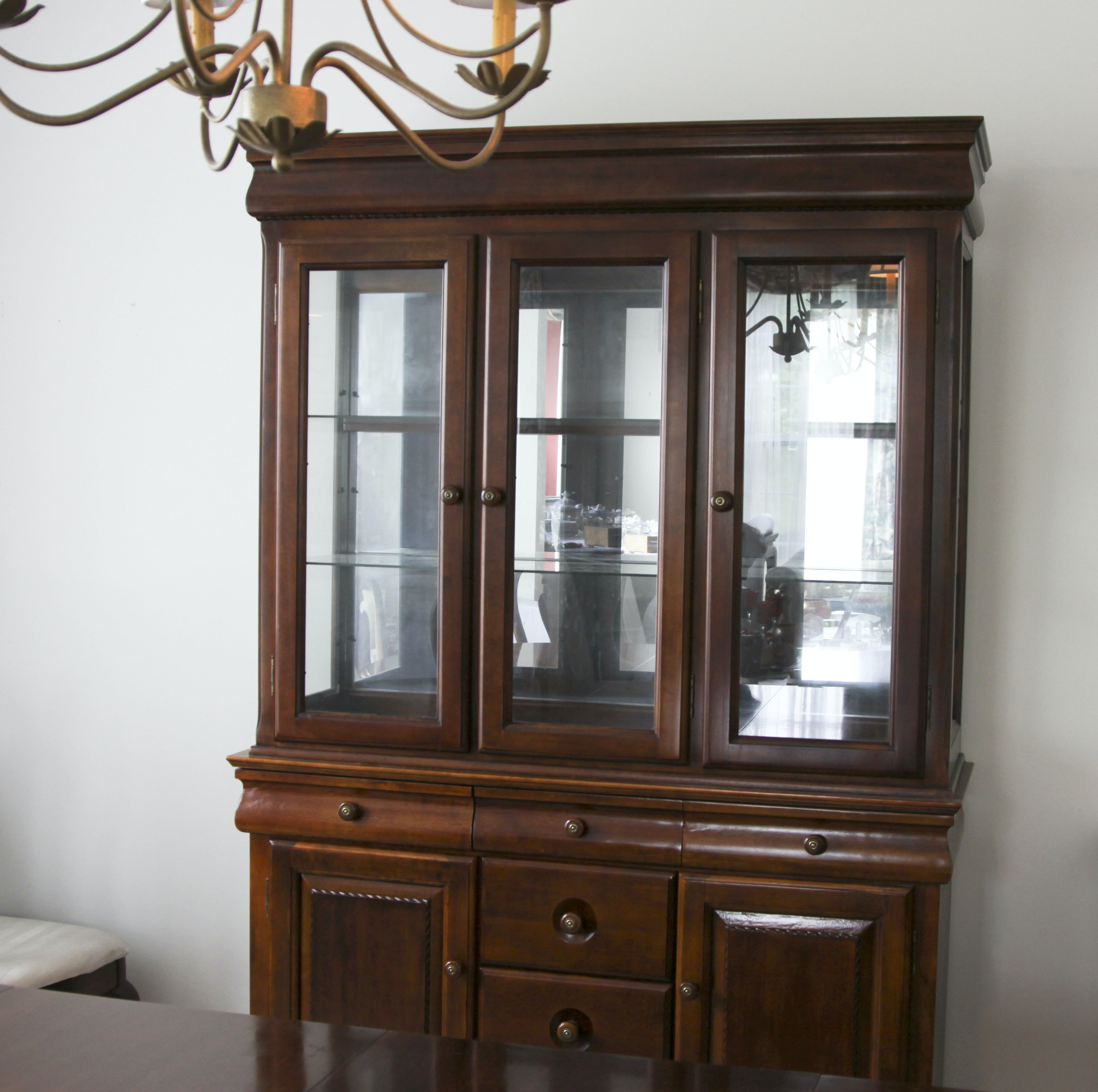 Cherry Finish Lighted China Cabinet