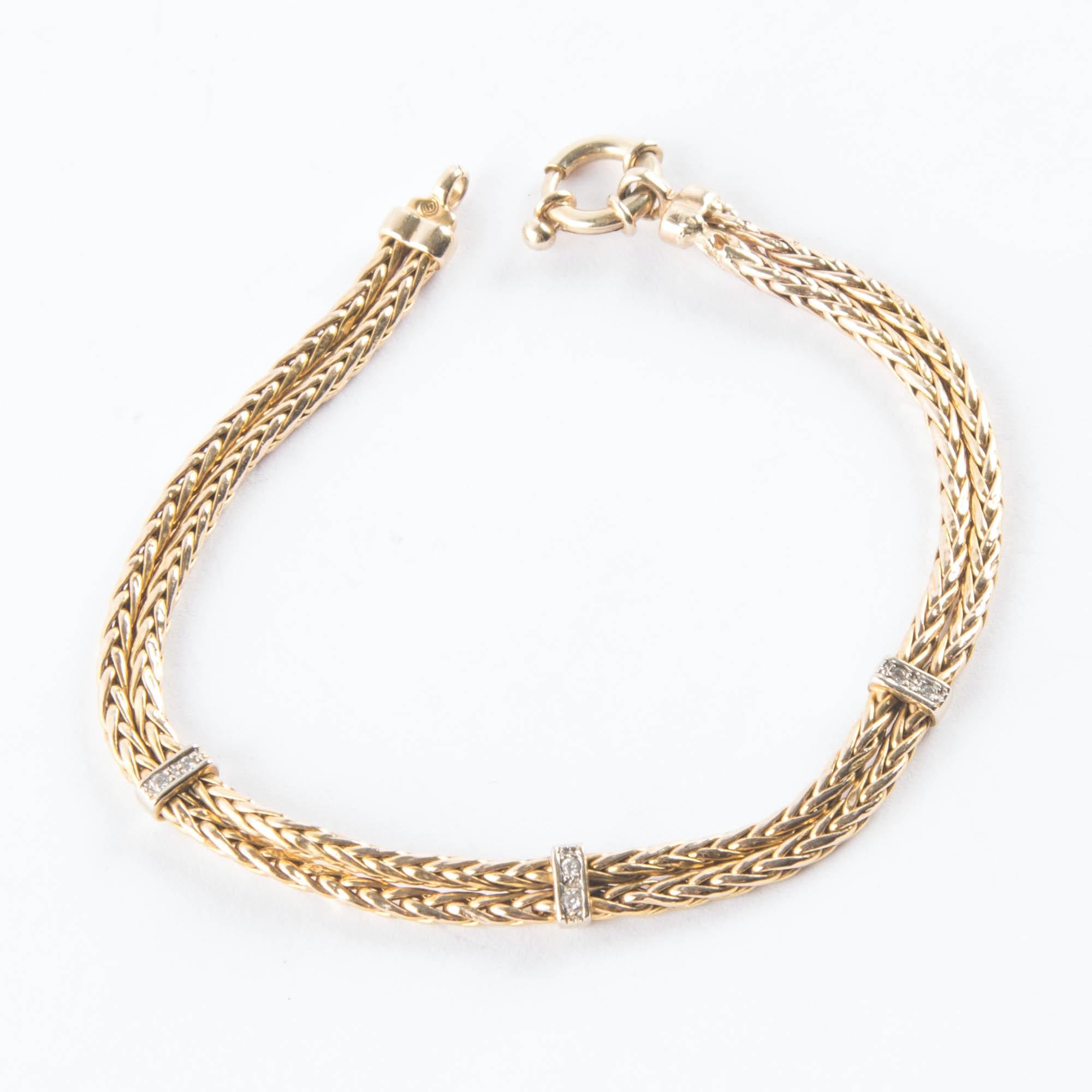 14K Gold Double Foxtail Bracelet