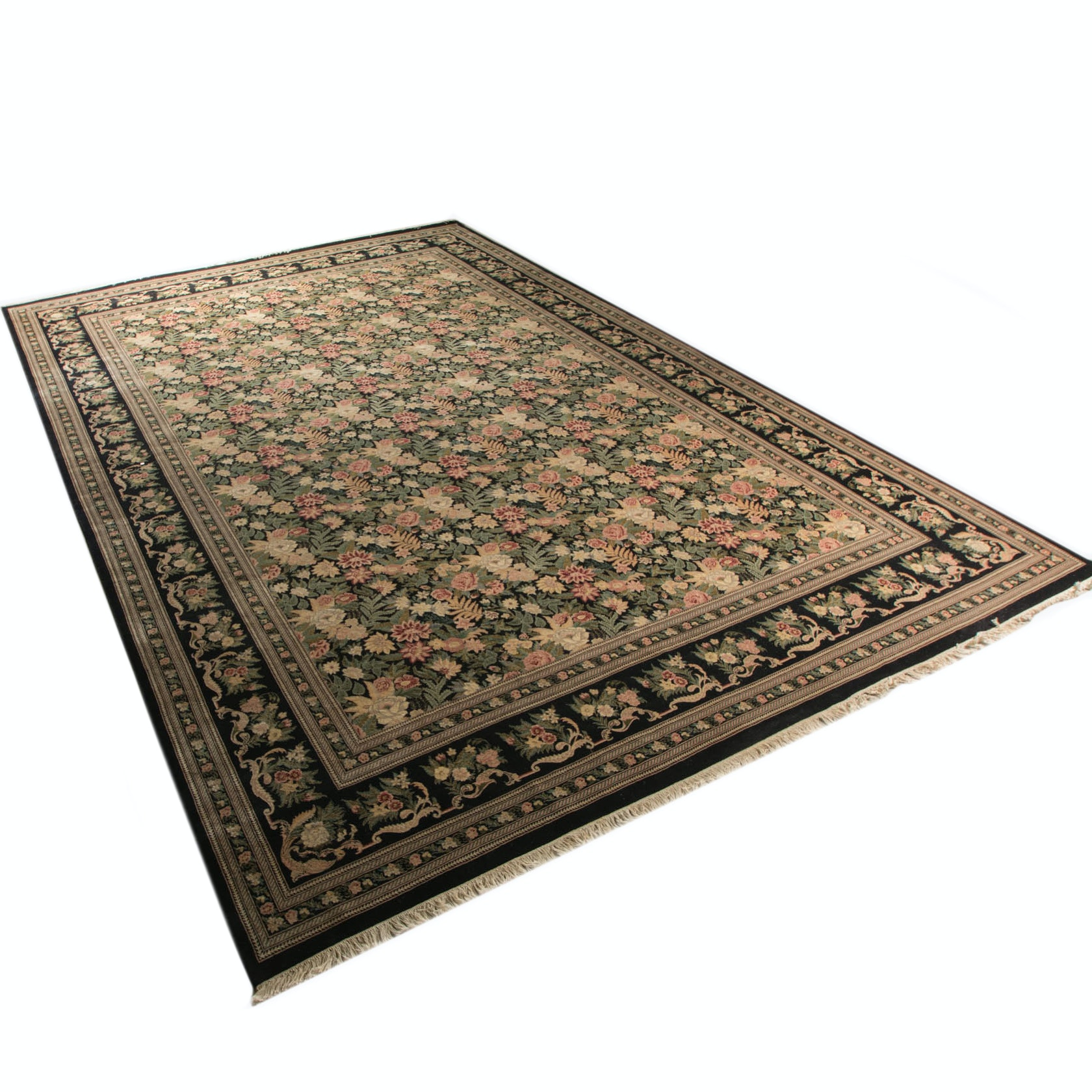 Large Bold Floral Wool Area Rug