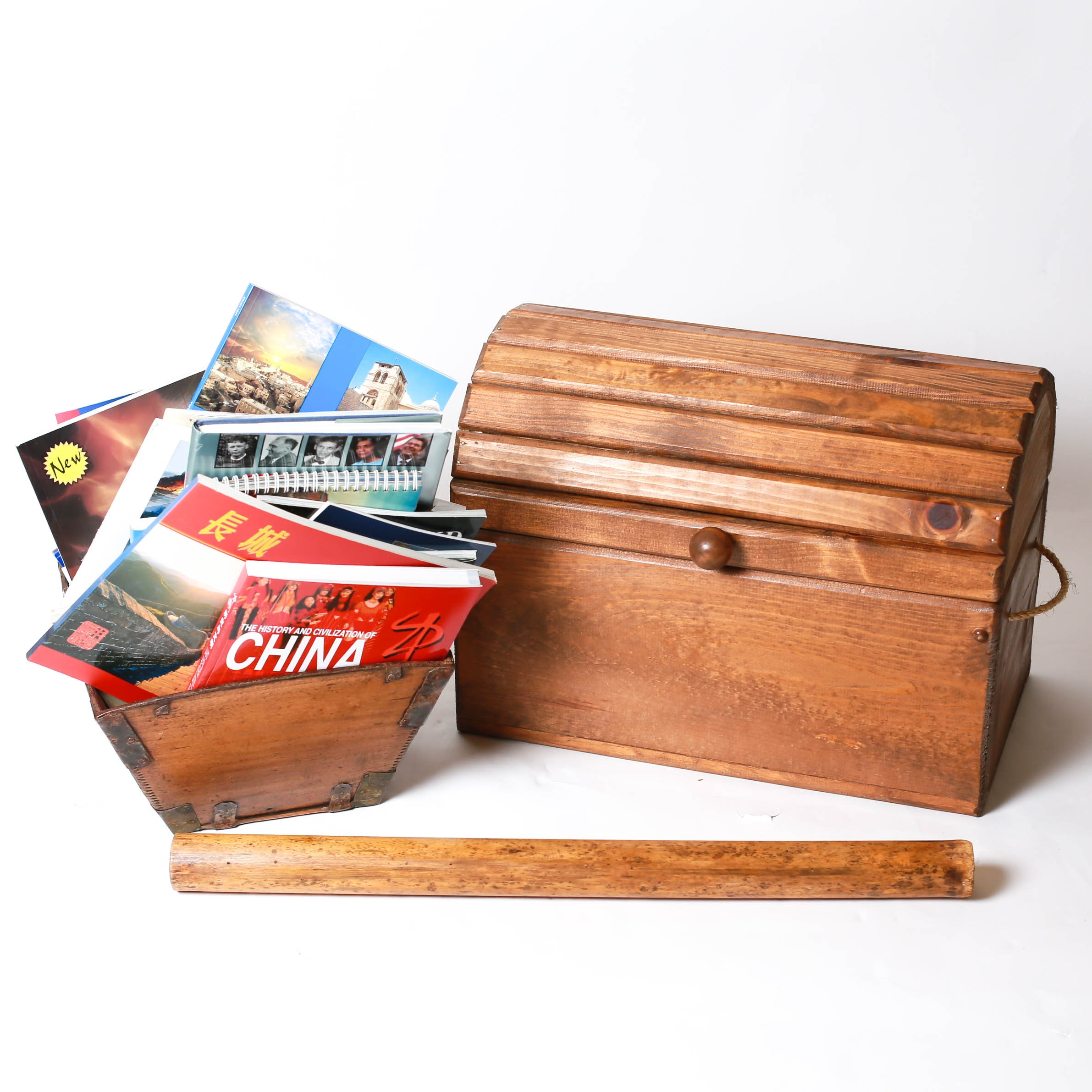 Wooden Chest, Magazine Rack with Travel Coffee Table Books, and Rain Stick