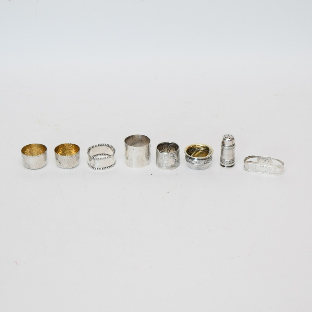 Sterling Silver Salt Cellars, Napkin Rings and Petite Salt Shaker