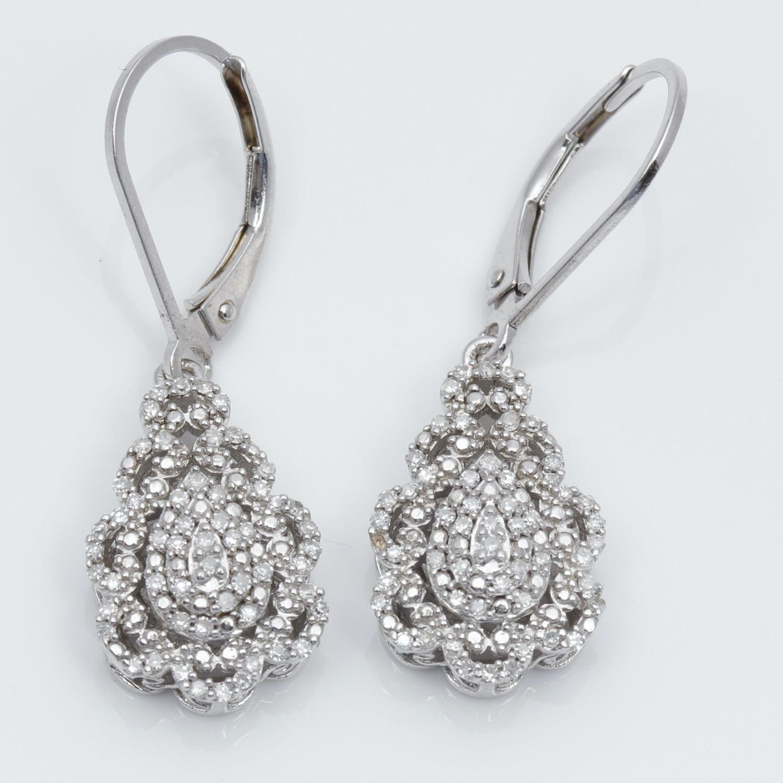 Sterling Silver 1.32 Carat Diamond Earrings