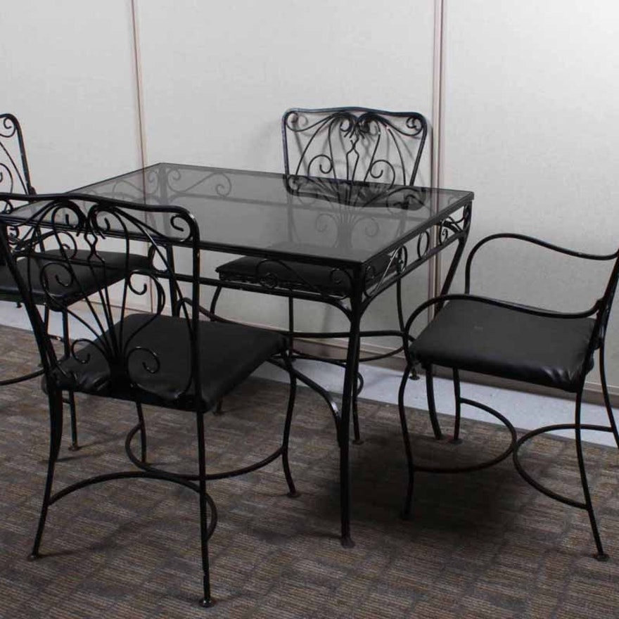 bb8594a04538 1940s Wrought Iron Patio Table and Chairs   EBTH