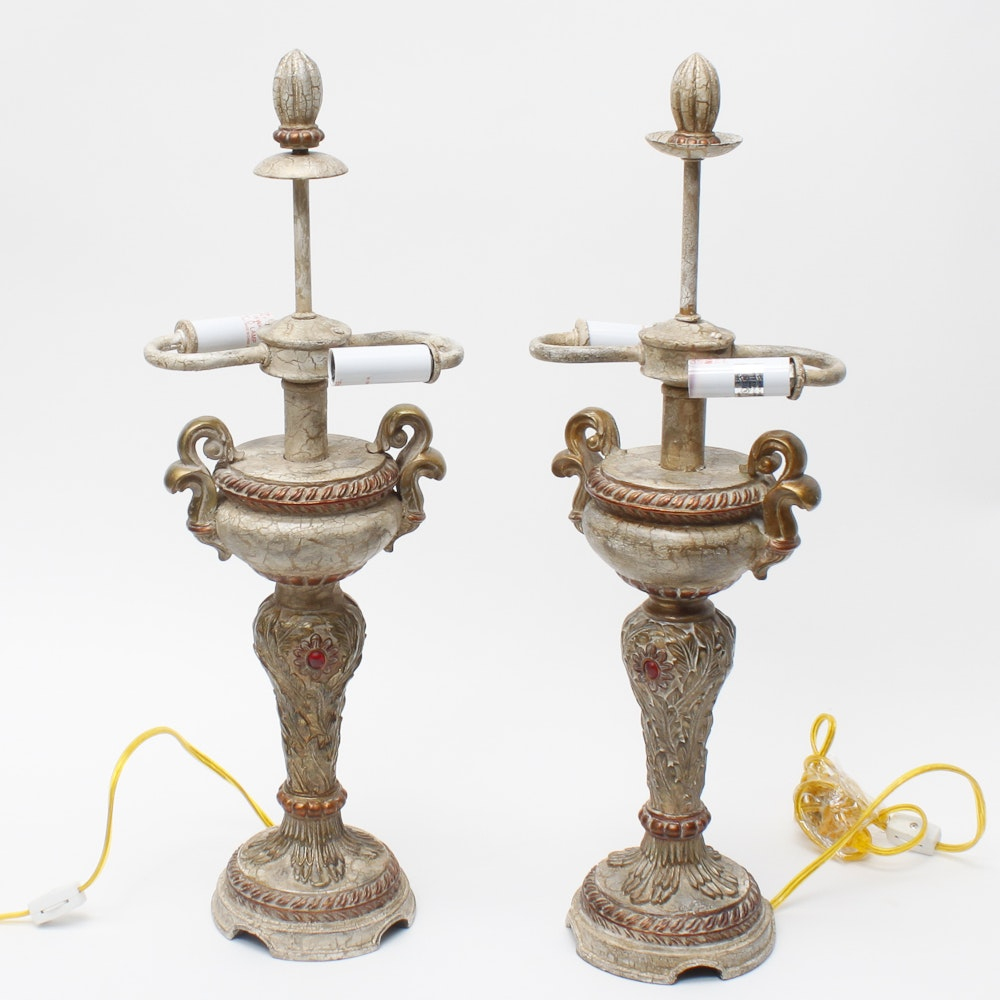 Distressed Urn Lamps