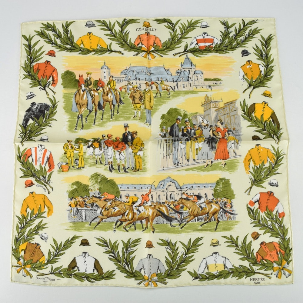 """Vintage Hermes """"Courses a Chantilly"""" Silk Scarf"""