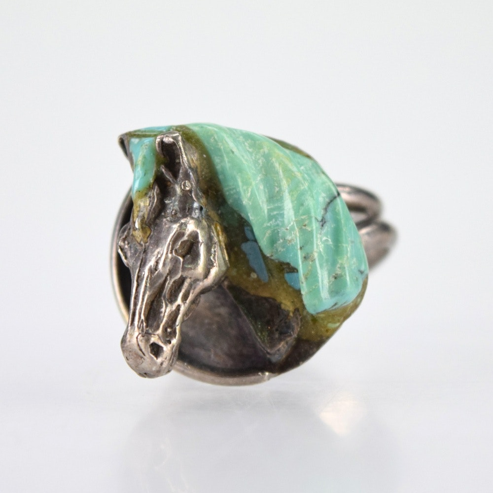 Signed Hopi Sterling and Turquoise Horse Head Ring by Johnny Blue Jay