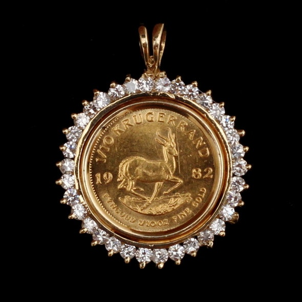 1982 Krugerrand 1/10 Gold Coin Set in 14K Yellow Gold and Diamond Pendant