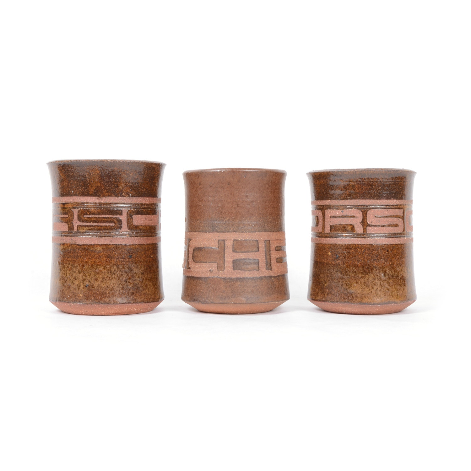 Collection of Hand-Crafted Stoneware Porsche Cups
