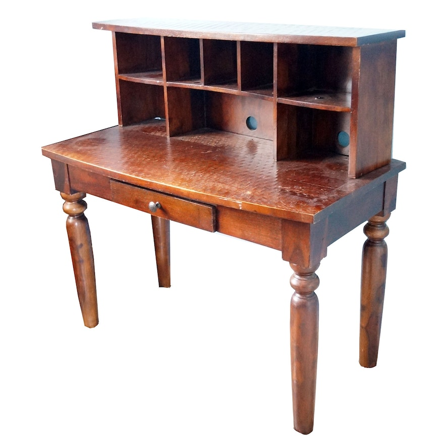 Wooden Desk With Cubby Holes