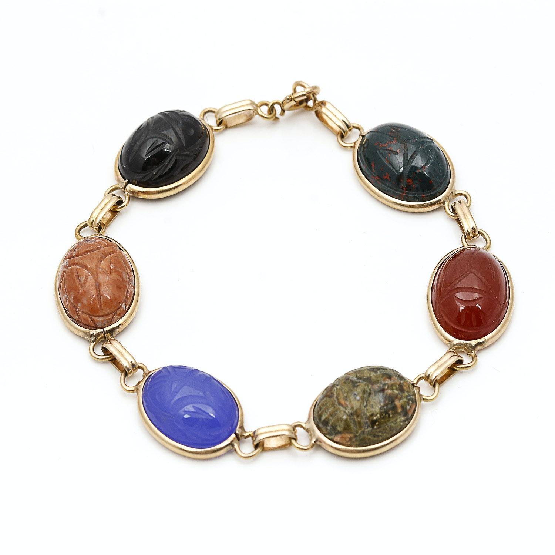 14K Yellow Gold Semi-Precious Stone Scarab Bracelet