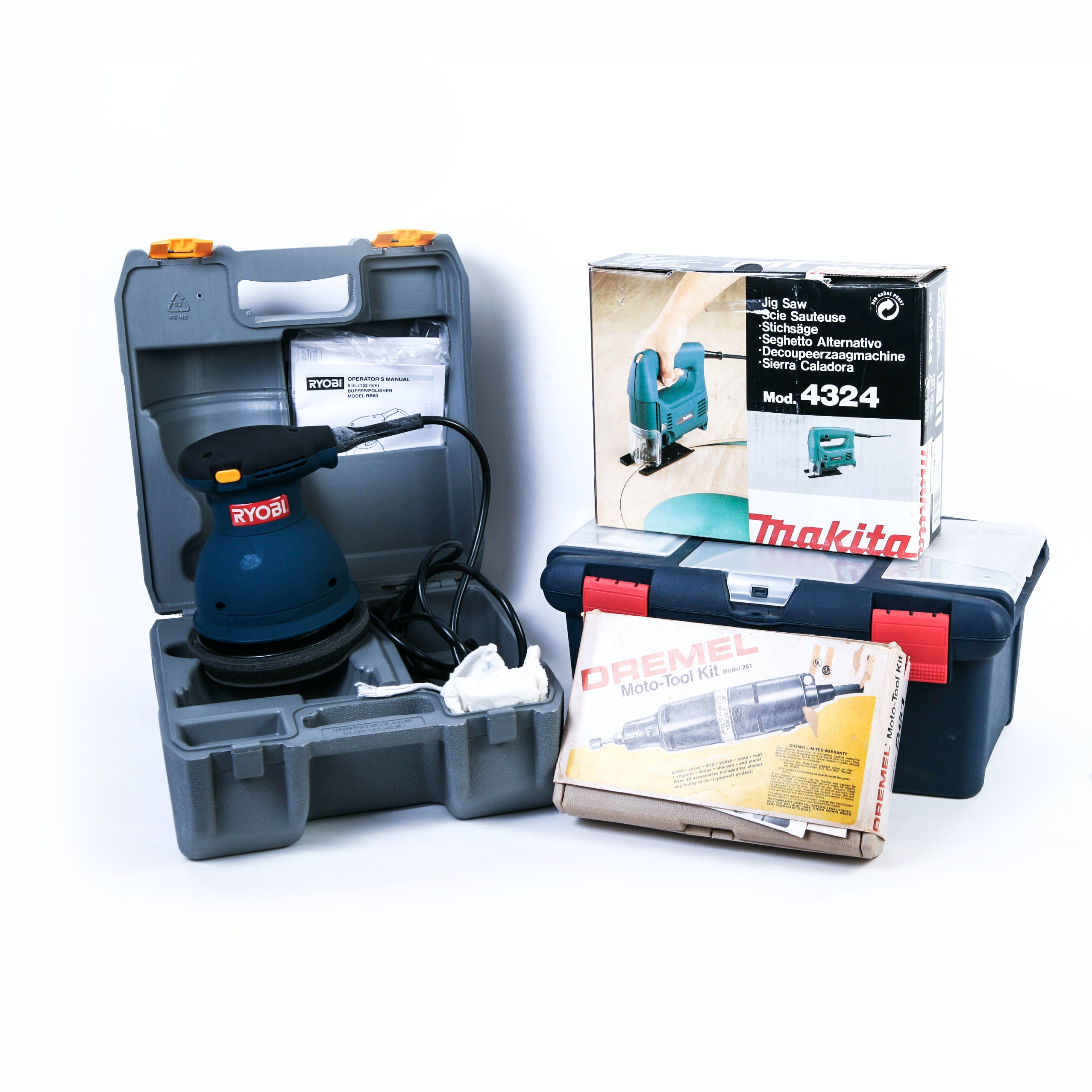 Six Inch Ryobi Orbital Buffer, Thakita Jig Saw, Dremel Moto-Tool Kit, and Toolbox