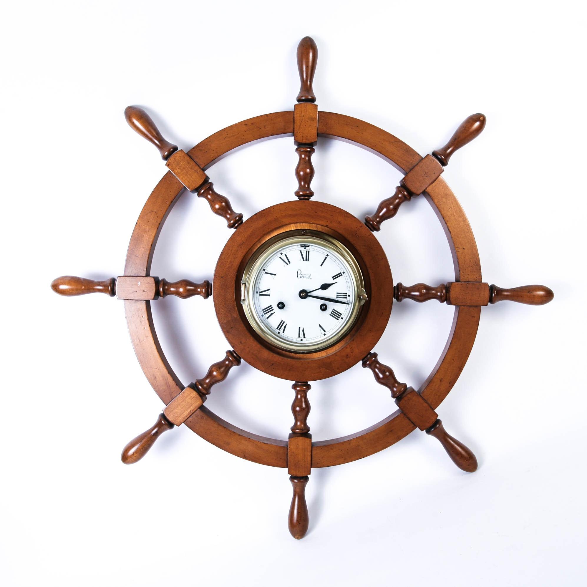 Vintage German Colonial Captain's Wheel Clock