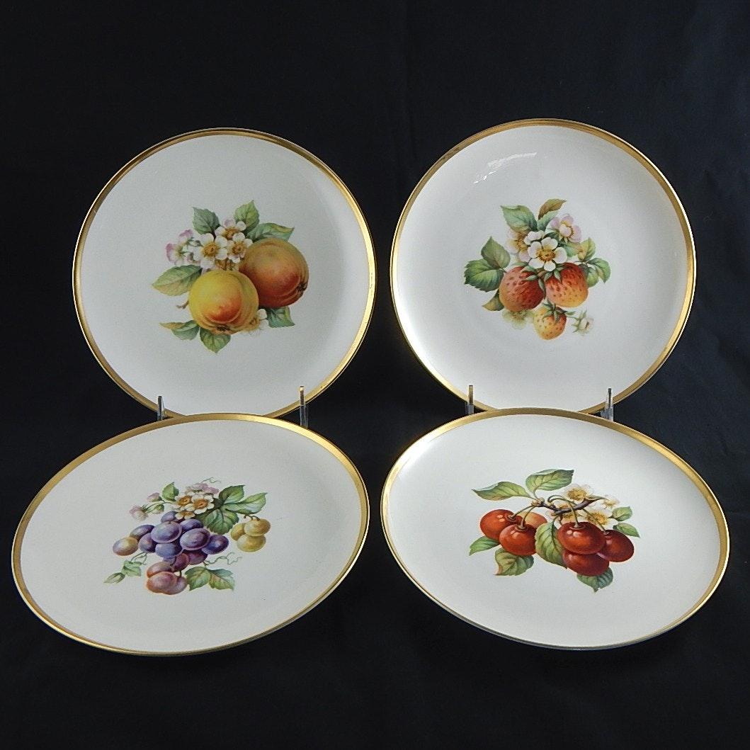 German Fruit Motif Porcelain Luncheon Plates