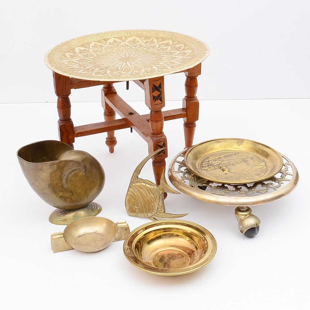 Brass Ware Collection Including Engraved Tray Stand