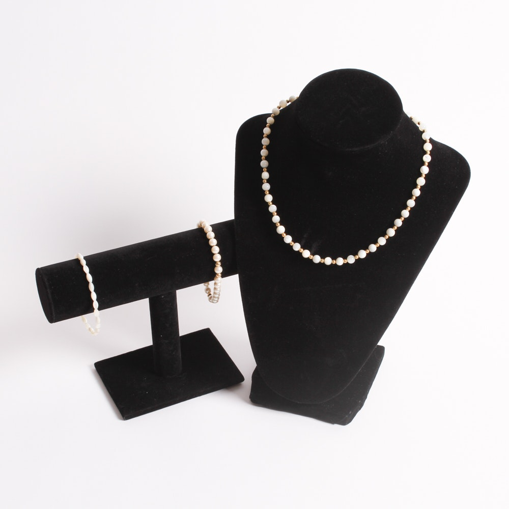 Polished Shell Bead and Faux Pearl Necklace and Bracelets