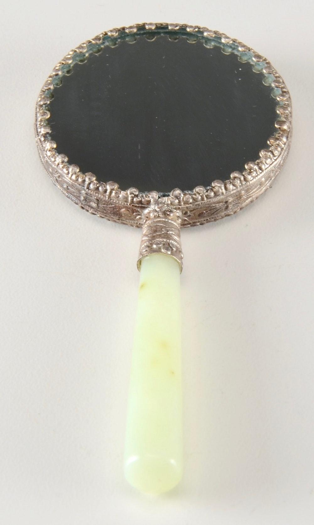 Chinese Serpentine Handled Hand Mirror Ebth