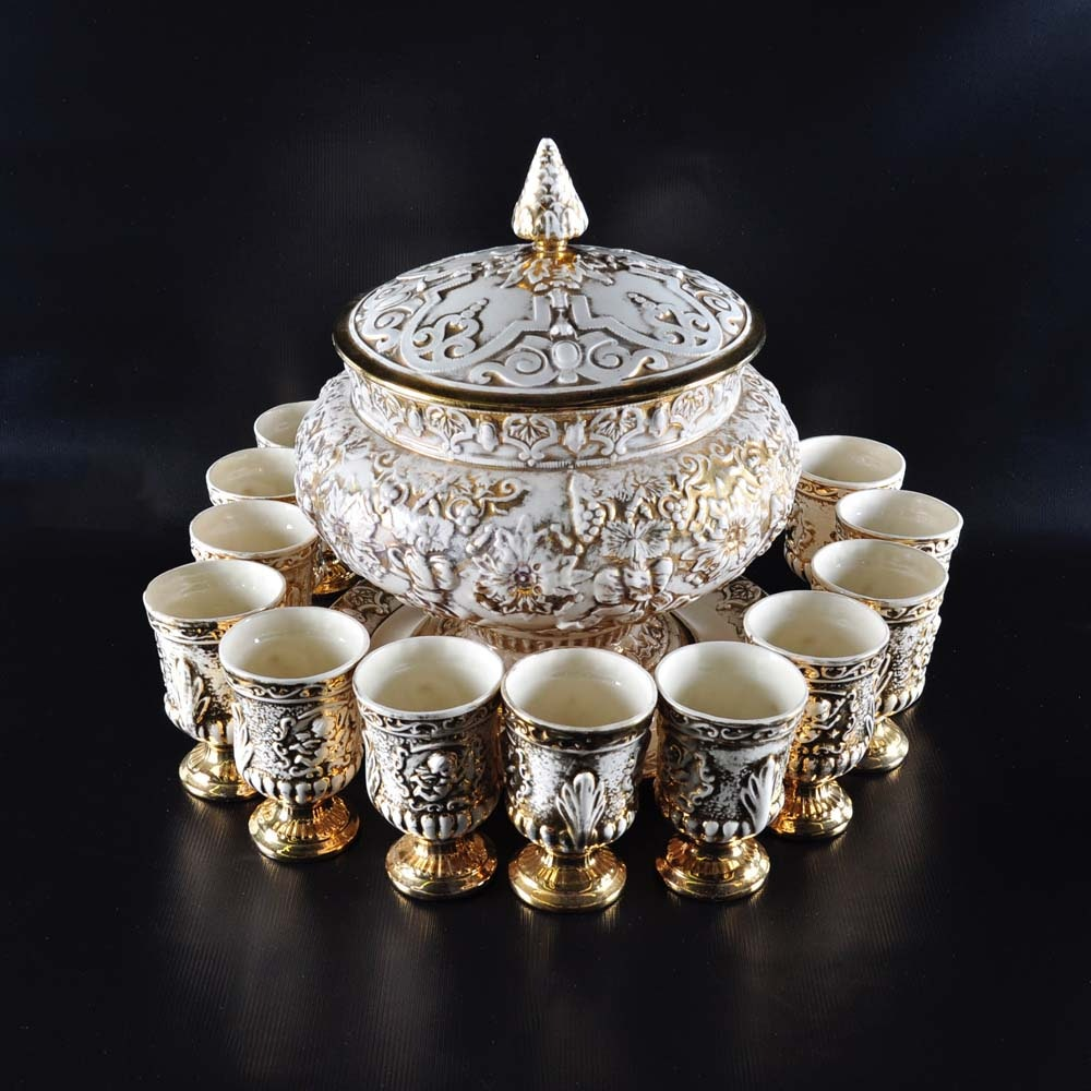 Vintage Punch Bowl with Cups