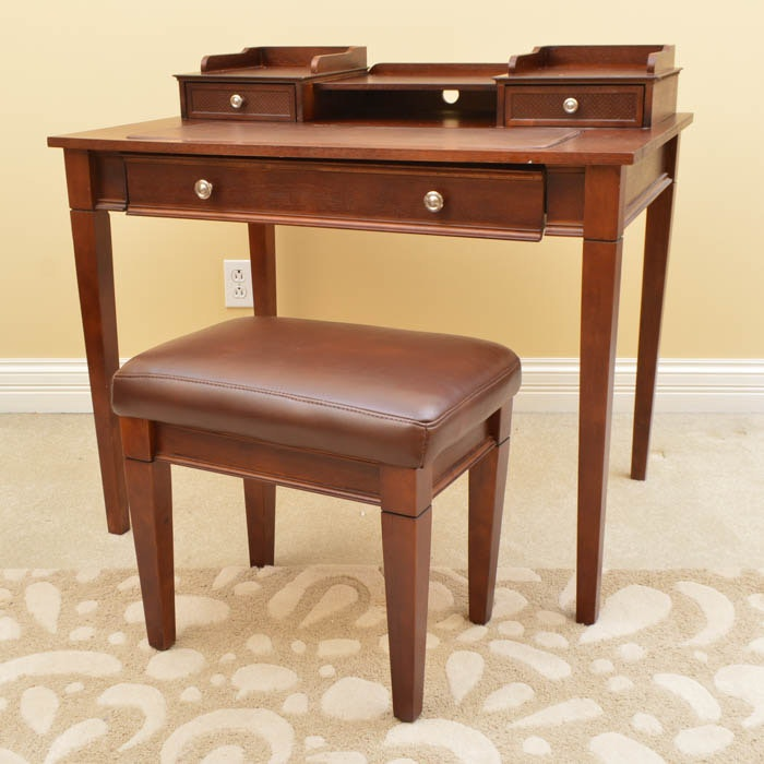 Leather Topped-Desk and Stool