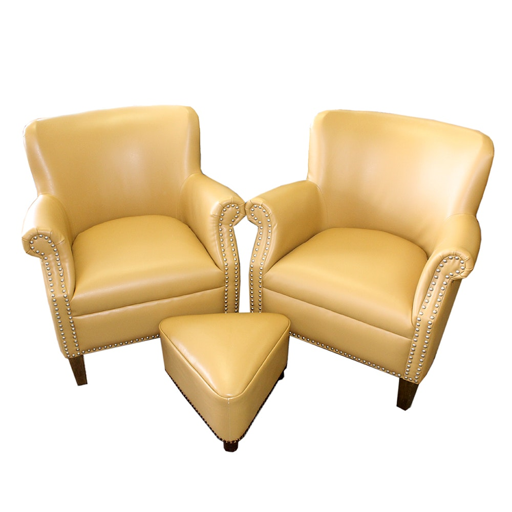Contemporary Armchairs And Ottoman ...