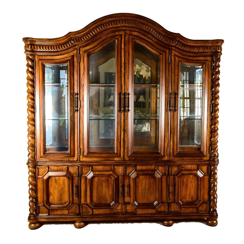 Tall Oak China Cabinet With Grill Over Glass Doors Ebth