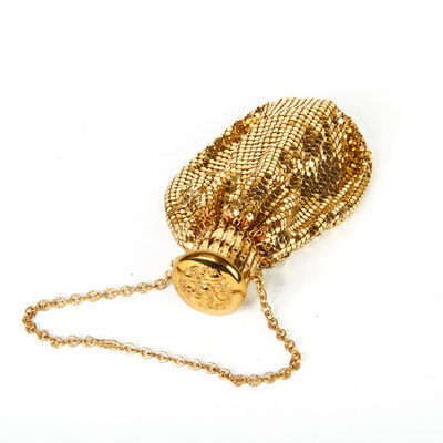 Vintage Whiting & Davis Co. Gold Tone Mesh Beggar's Purse