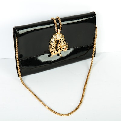 Kenneth Jay Lane Black Patent Leather Clutch with Cheetah Closure