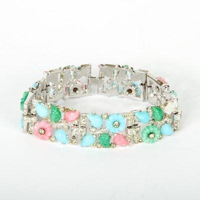 Unsigned Trifari Silver-Tone Floral Bracelet