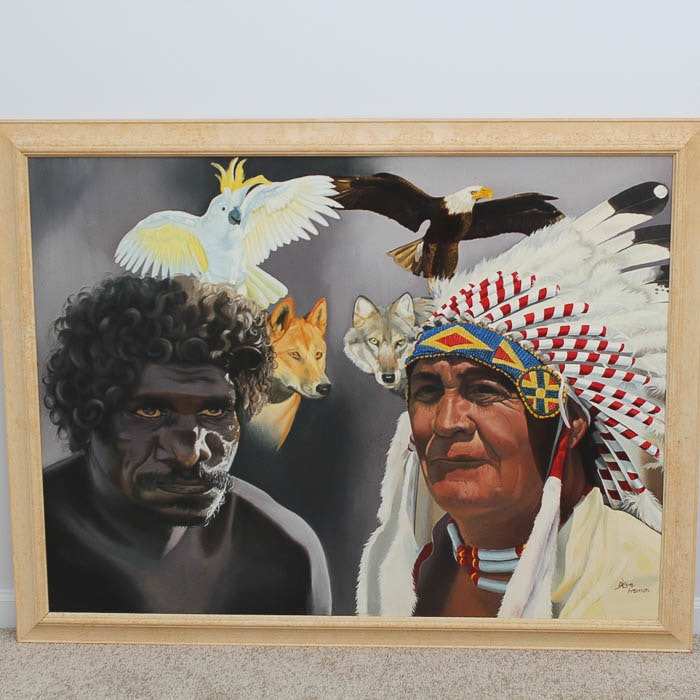 """Oil on Canvas """"Two Indigenous Worlds As One"""""""