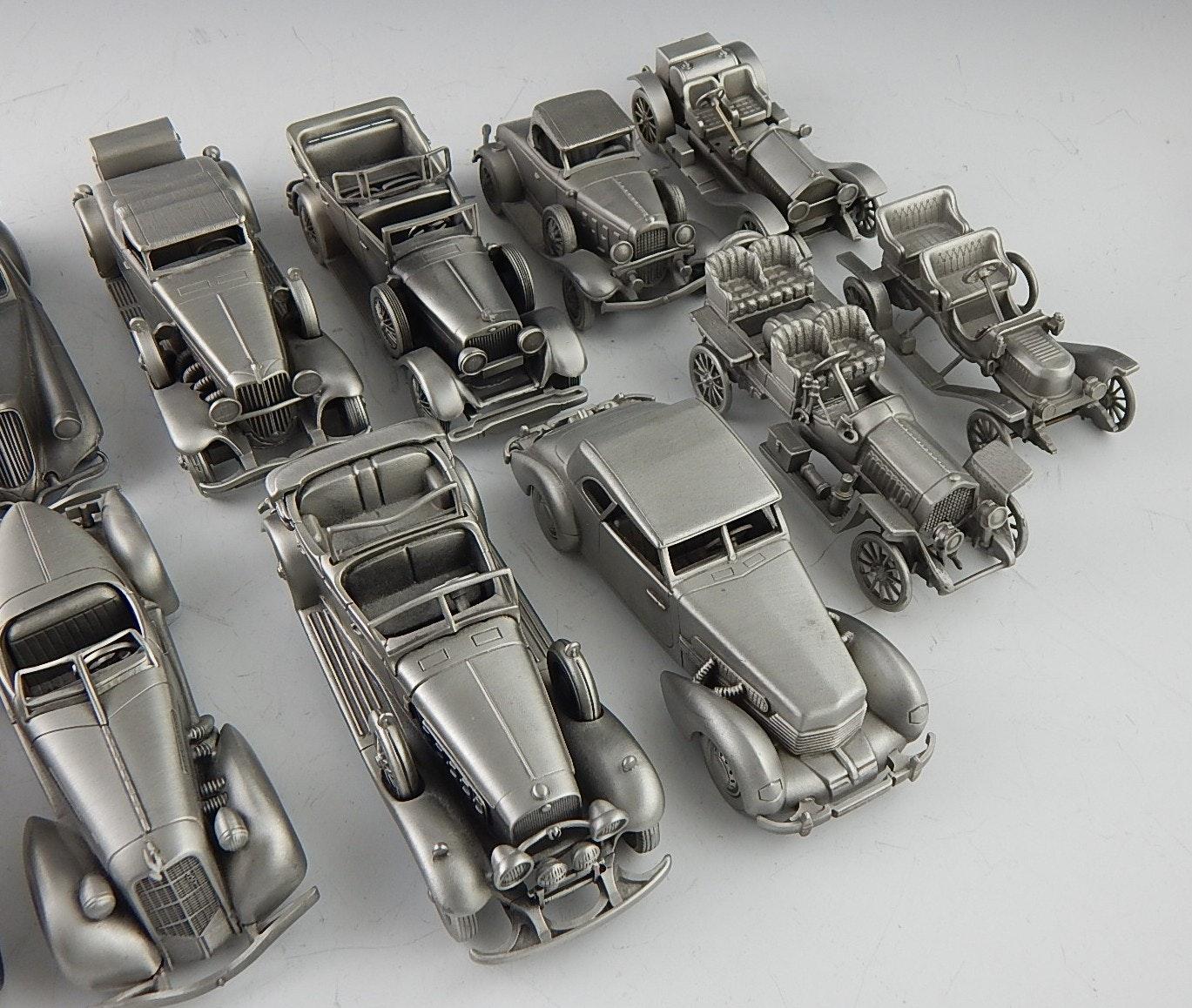 Twelve Danbury Mint Pewter Model Antique And Classic Cars