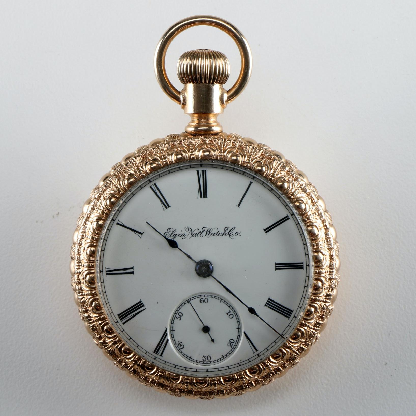 Elgin Rose Gold Tone Pocket Watch