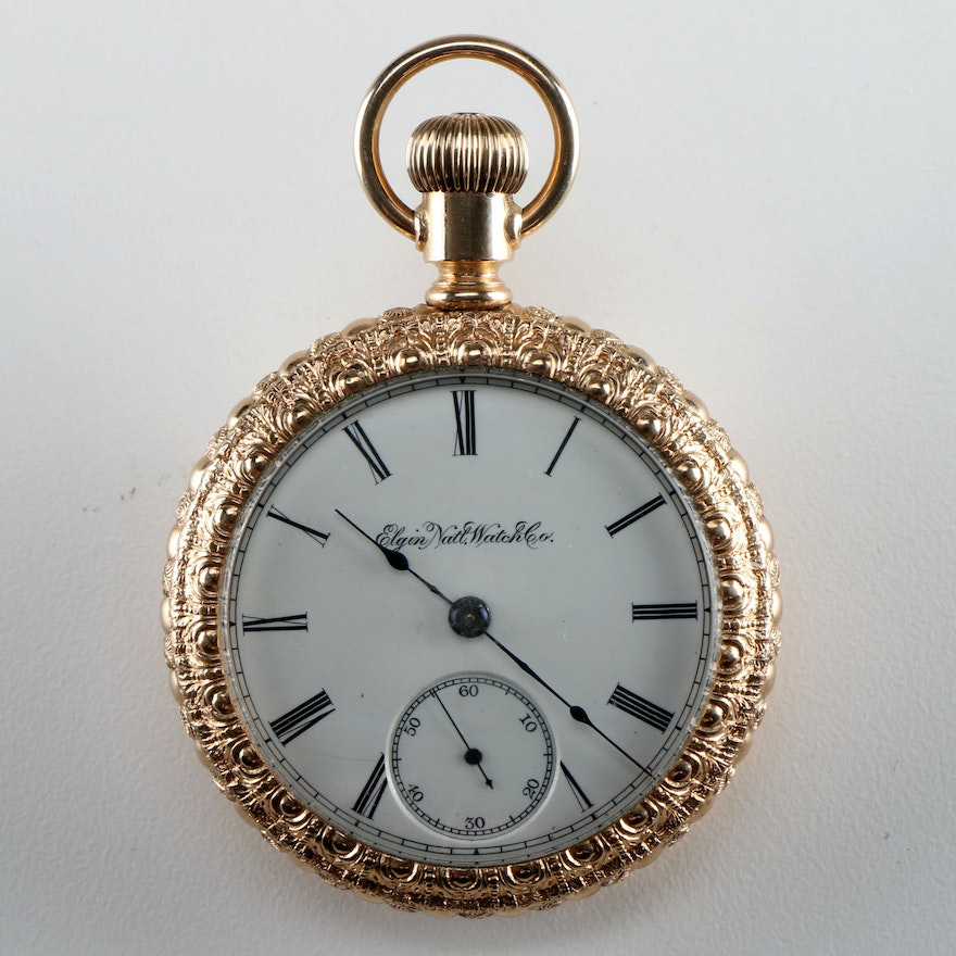 1888 Elgin Pocket Watch With Late 19th Century Gold Filled Case Ebth
