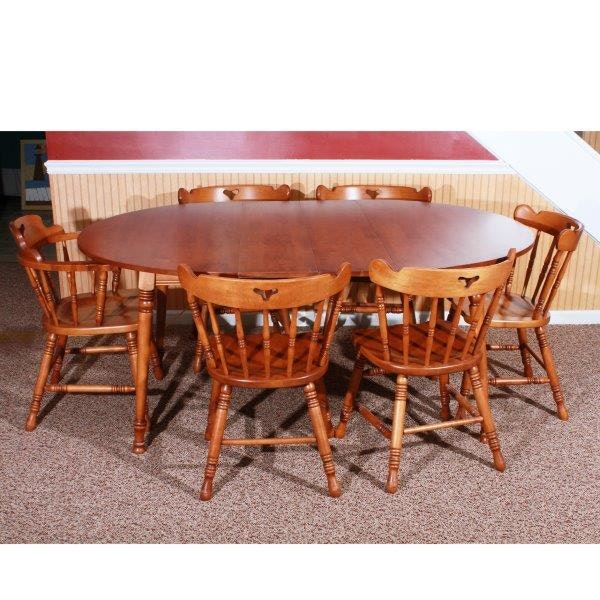 Early American Style Dining Table And Six Chairs