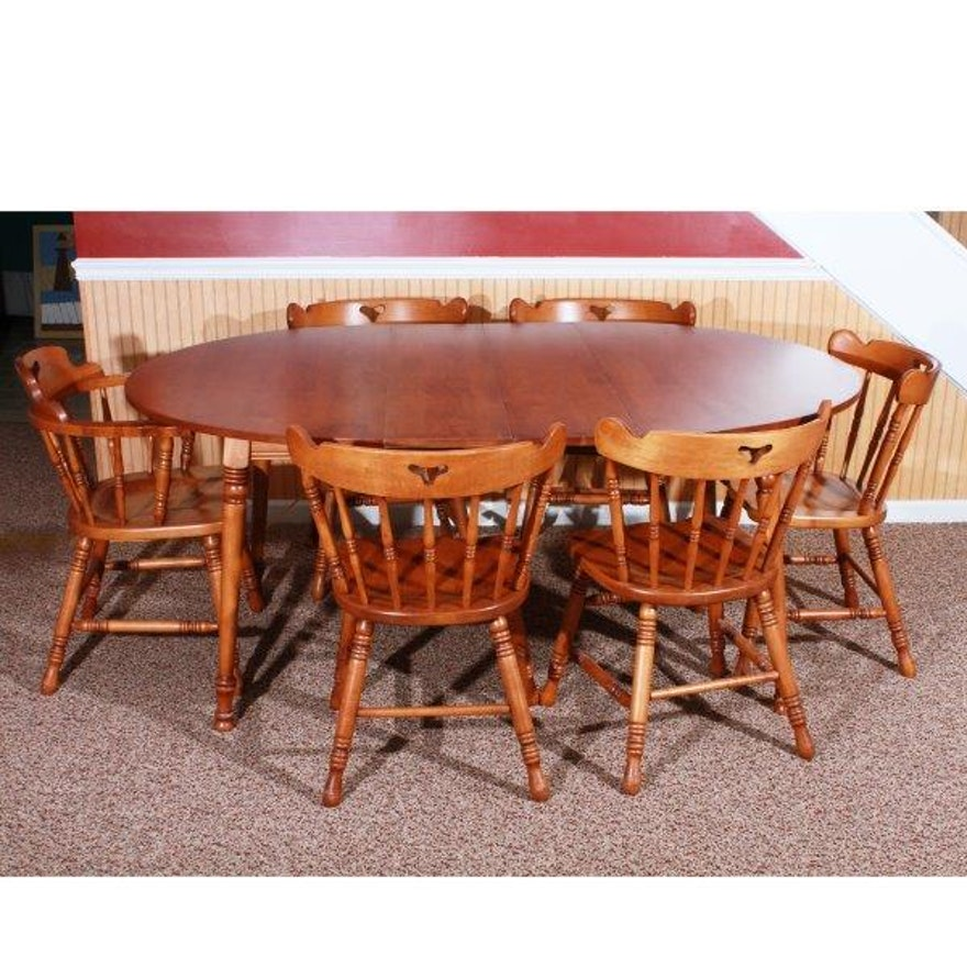 early american style dining table and six chairs ebth