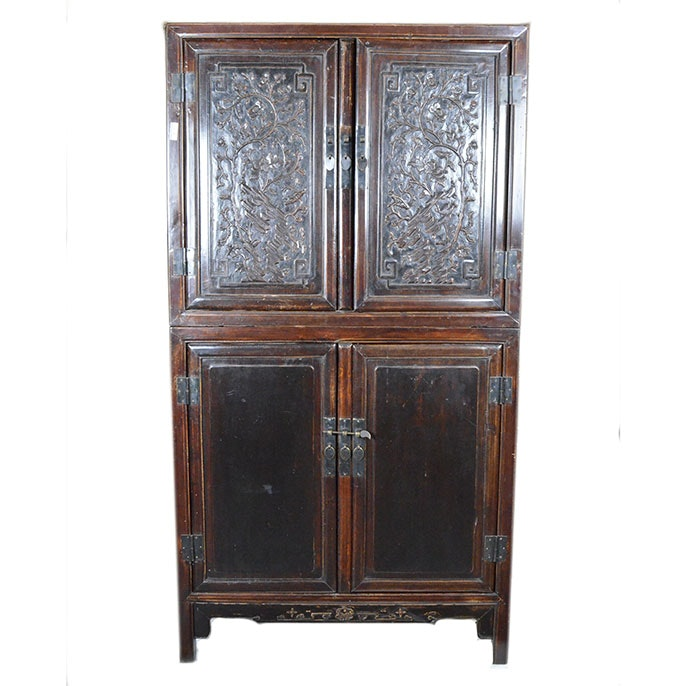 Asian Inspired Cabinet with Carved Doors
