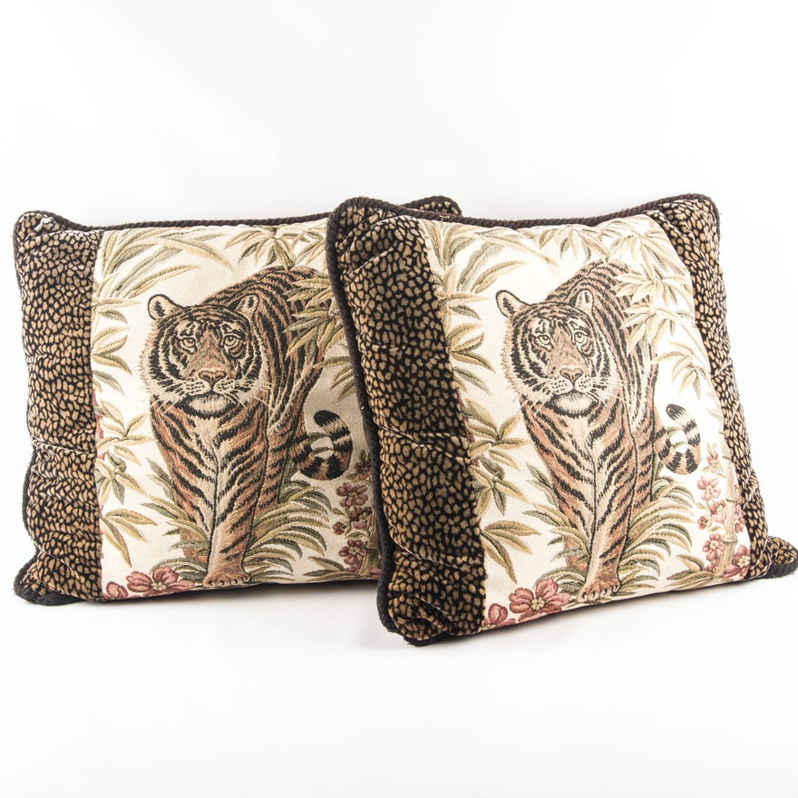 Pair Of Ashford Court Decorative Tiger Pillows EBTH Adorable Ashford Court Decorative Pillows