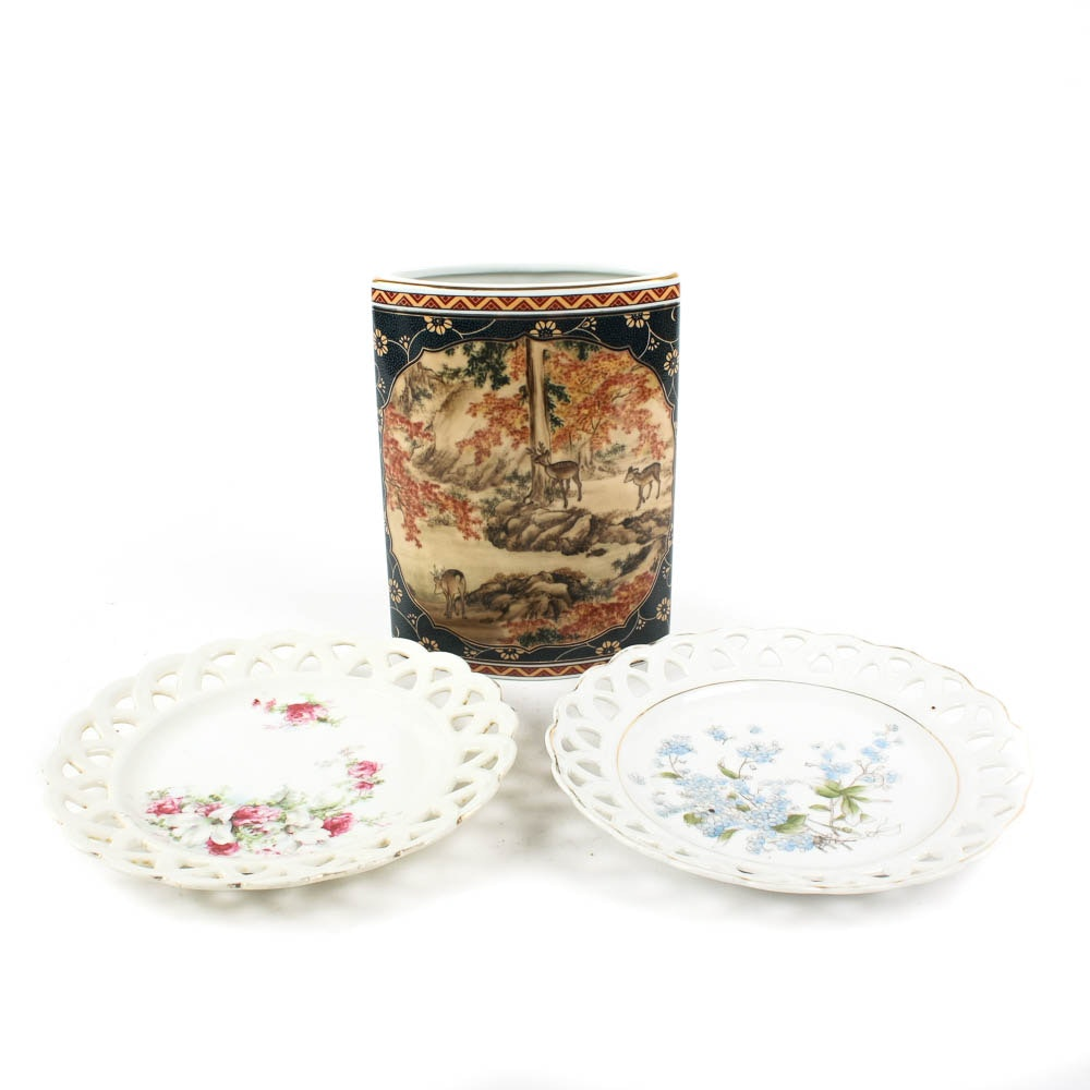 Duo of Porcelain Decorative Plates with Vase