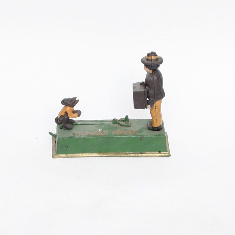 """Vintage Cast Iron """"Monkey Bank"""" with Monkey and Organ Grinder"""