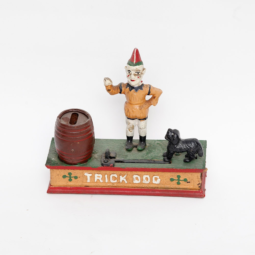 """Cast Iron Painted """"Trick Dog"""" Mechanical Bank"""