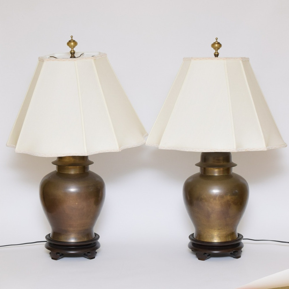 Pair Of Vintage Wildwood Brass Table Lamps ...
