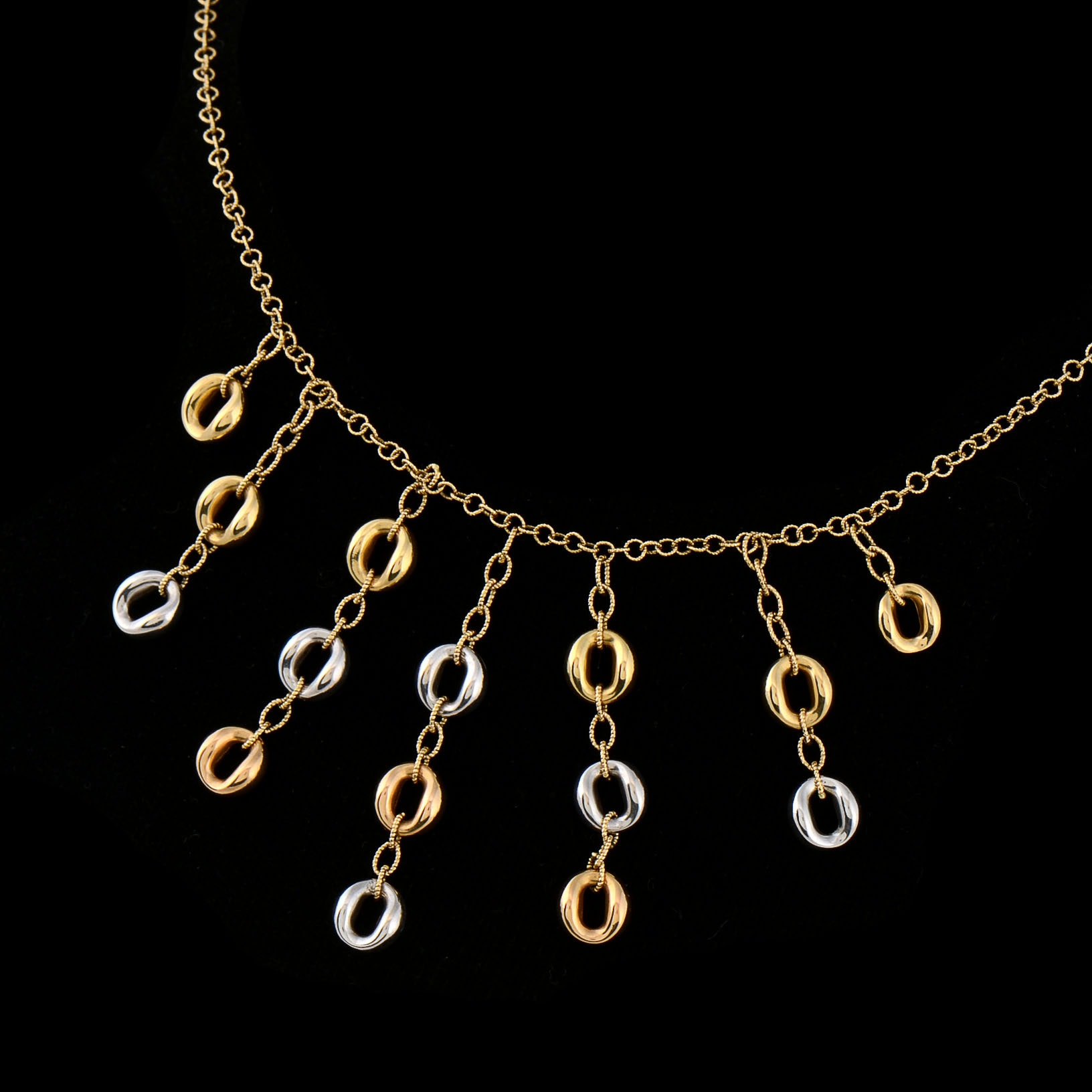 Roberto Coin 18K Two Tone Gold, Diamond, and Ruby Link Necklace