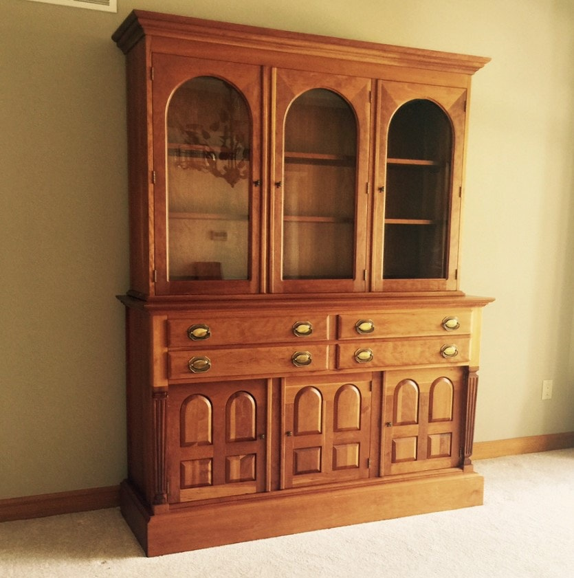 Solid Cherry Display Hutch Custom Built by Sampler Furniture Co. Homer Indiana