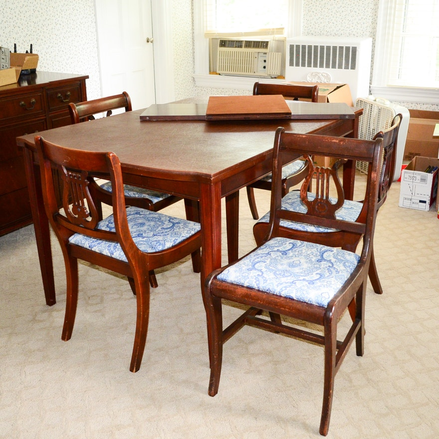 Cherry Table And Chairs: Cherry Duncan Phyfe Table & Chairs Circa 1940's