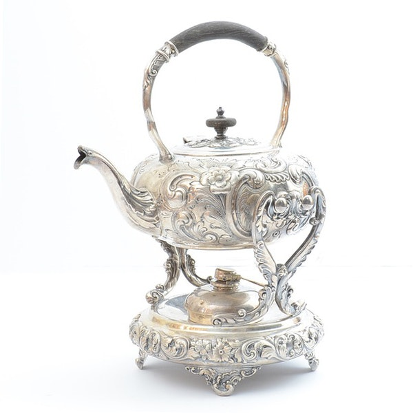 Repousse Silver Plate Tipping Tea Pot with Stand