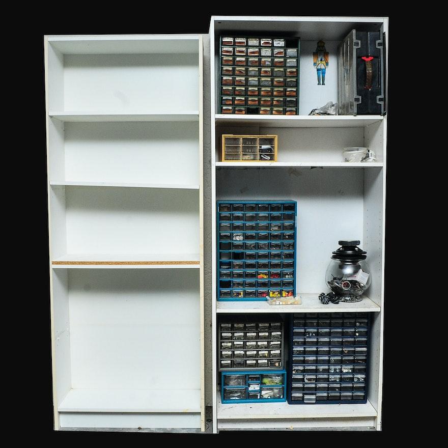 Pair of White Laminate Shelves