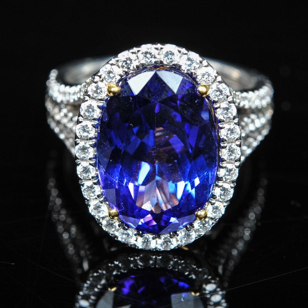 18K Gold 8.12 CTW Tanzanite and Diamond Ring