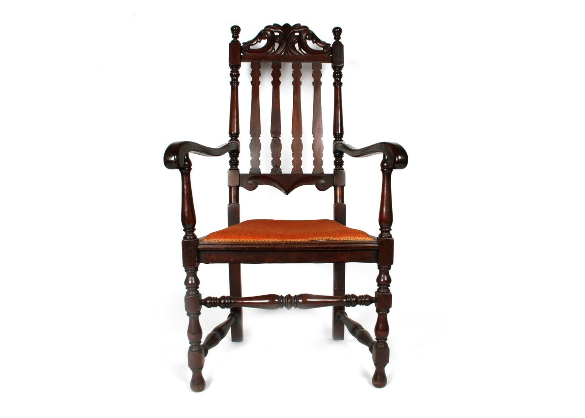 1920s English William and Mary Style Bannister Back Arm Chair
