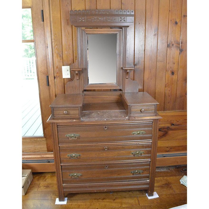 Antique Victorian Eastlake Style Dresser With Mirror Ebth
