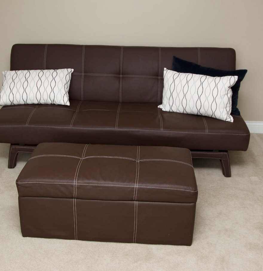 IKEA Futon and Storage Ottoman in Brown Faux Leather ... - IKEA Futon And Storage Ottoman In Brown Faux Leather : EBTH