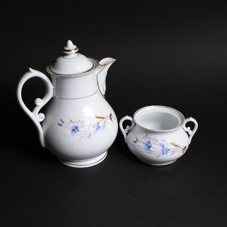 Handpainted Ceramic Teapot And Sugar Bowl Ebth